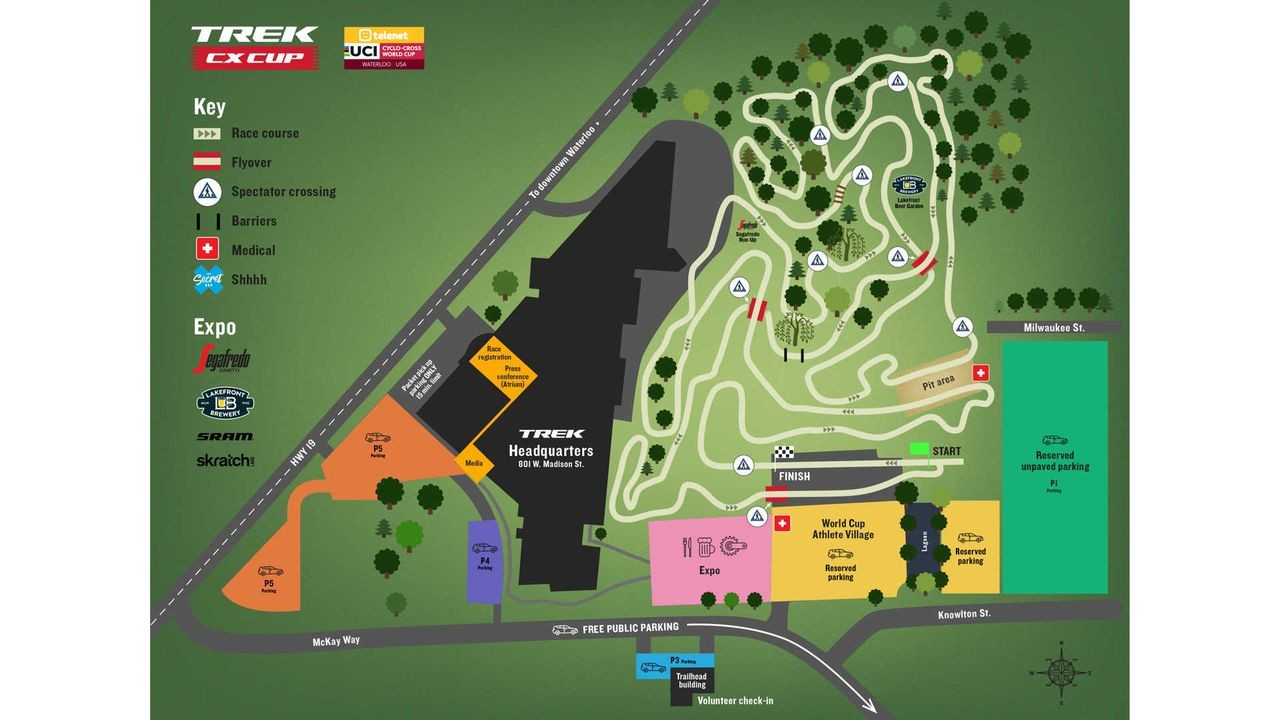 2018 World Cup Waterloo course map. photo: Trek Bicycle