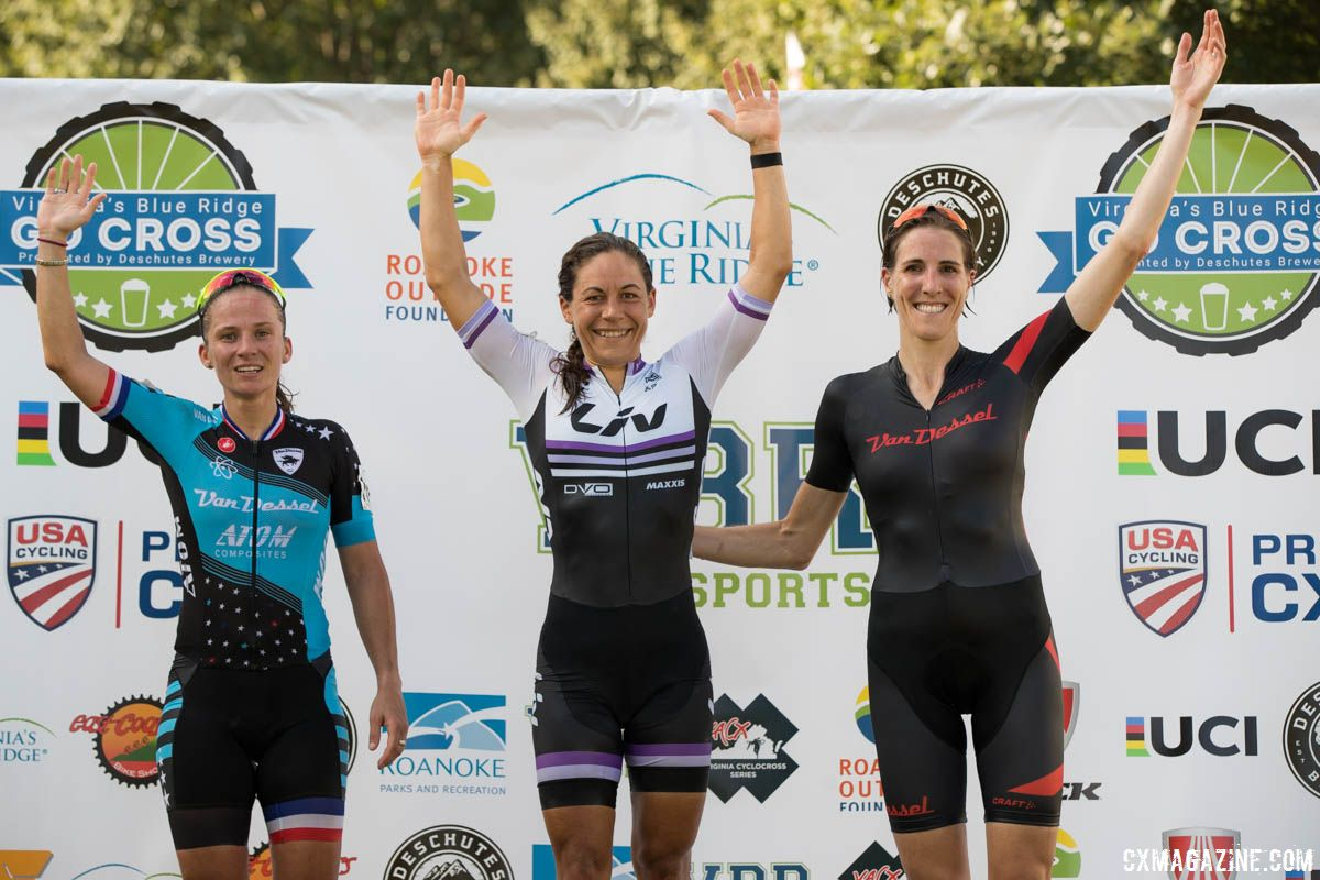Women's podium: Crystal Anthony, Caroline Mani and Sunny Gilbert. 2018 GO Cross Day 2. © Bruce Buckley