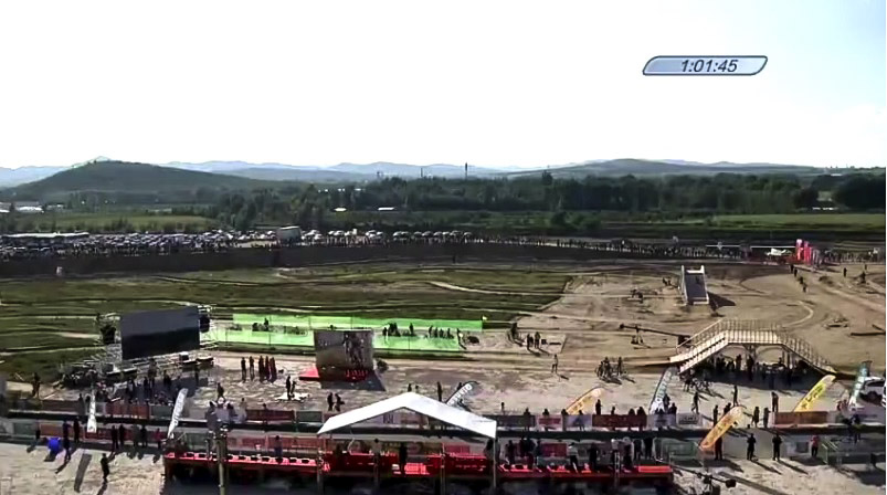 The course in Aohan, China included two flyovers. 2018 Qiansen Trophy Round 1. photo: screen shot