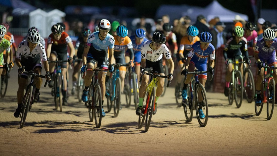 Maghalie Rochette raced to the holeshot and never looked back. 2018 Reno Cross women's race. © J. Silva / Cyclocross Magazine