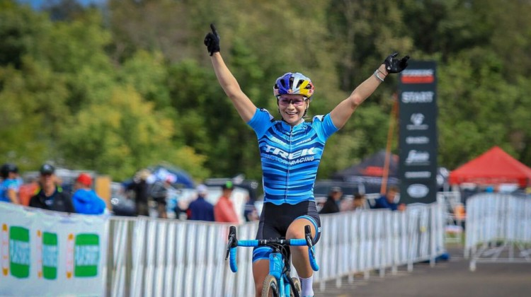 Evie Richards wins Day 1 of the 2018 Trek CX Cup. photo: Dave Mable