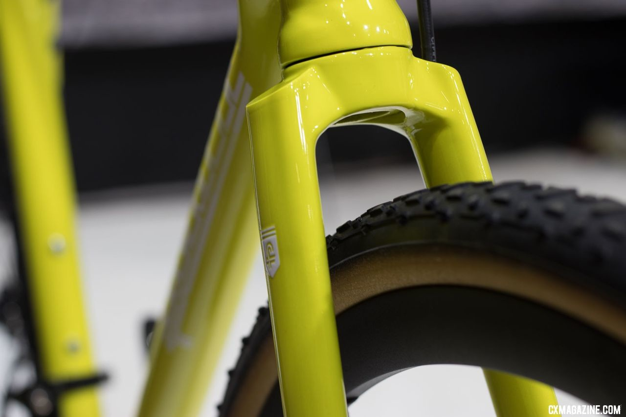 Favorit's custom carbon F3 Cyclocross bike with custom alloy crown carbon fork, similar to Wound Up forks. 2018 Interbike. © Cyclocross Magazine
