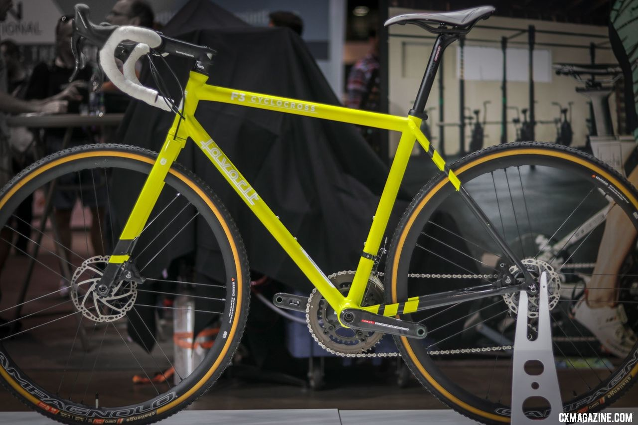 Favorit's custom carbon F3 Cyclocross bike with custom alloy crown carbon fork was an eye-catcher. The Czech brand is launching in the States and looking for dealers. 2018 Interbike. © Cyclocross Magazine