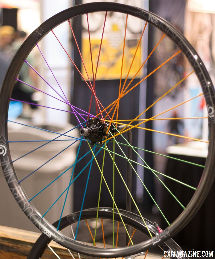 "The Level 3 ""No Color Restrictions, Unlimited Customizations"" TRA wheel on display. 2018 Interbike. © Eric Takayama / Cyclocross Magazine"