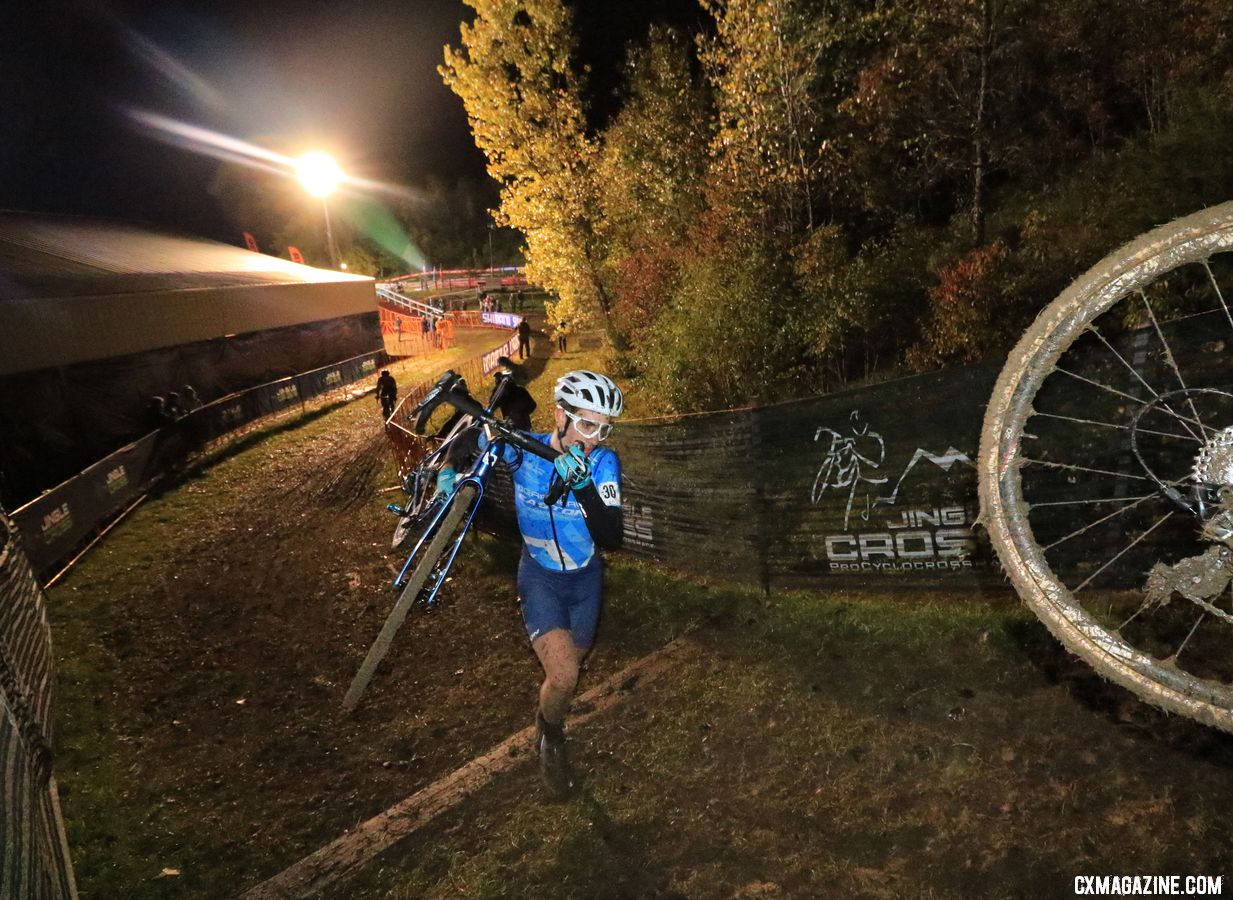 Ben Gomez Villafane makes his pro UCI debut, and finishes with a point in 10th. 2018 Jingle Cross Day 1 Men. © D. Mable/ Cyclocross Magazine