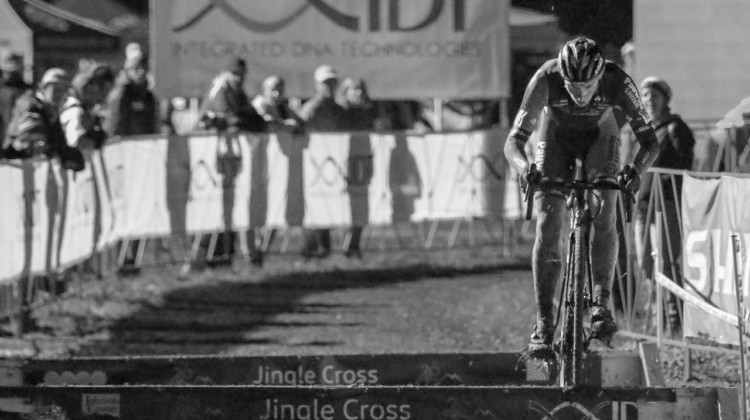 Diether Sweeck hops the barriers and takes the UCI C2 win. 2018 Jingle Cross Day 1 Men. © D. Mable/ Cyclocross Magazine