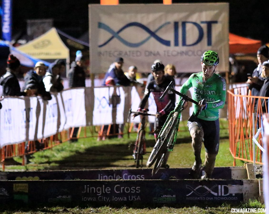 Stan Godrie gives chase of Sweeck and leads Falenta. 2018 Jingle Cross Day 1 Men. © D. Mable/ Cyclocross Magazine