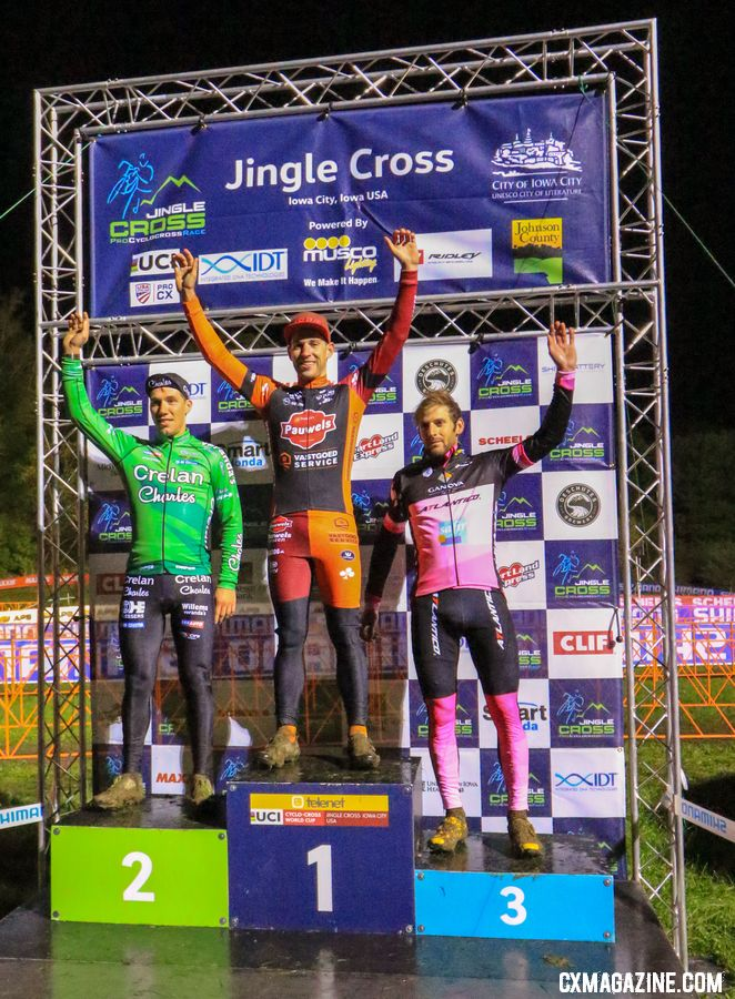 L to R: Godrie, Sweeck, and Falenta. 2018 Jingle Cross Day 1 Men. © D. Mable/ Cyclocross Magazine