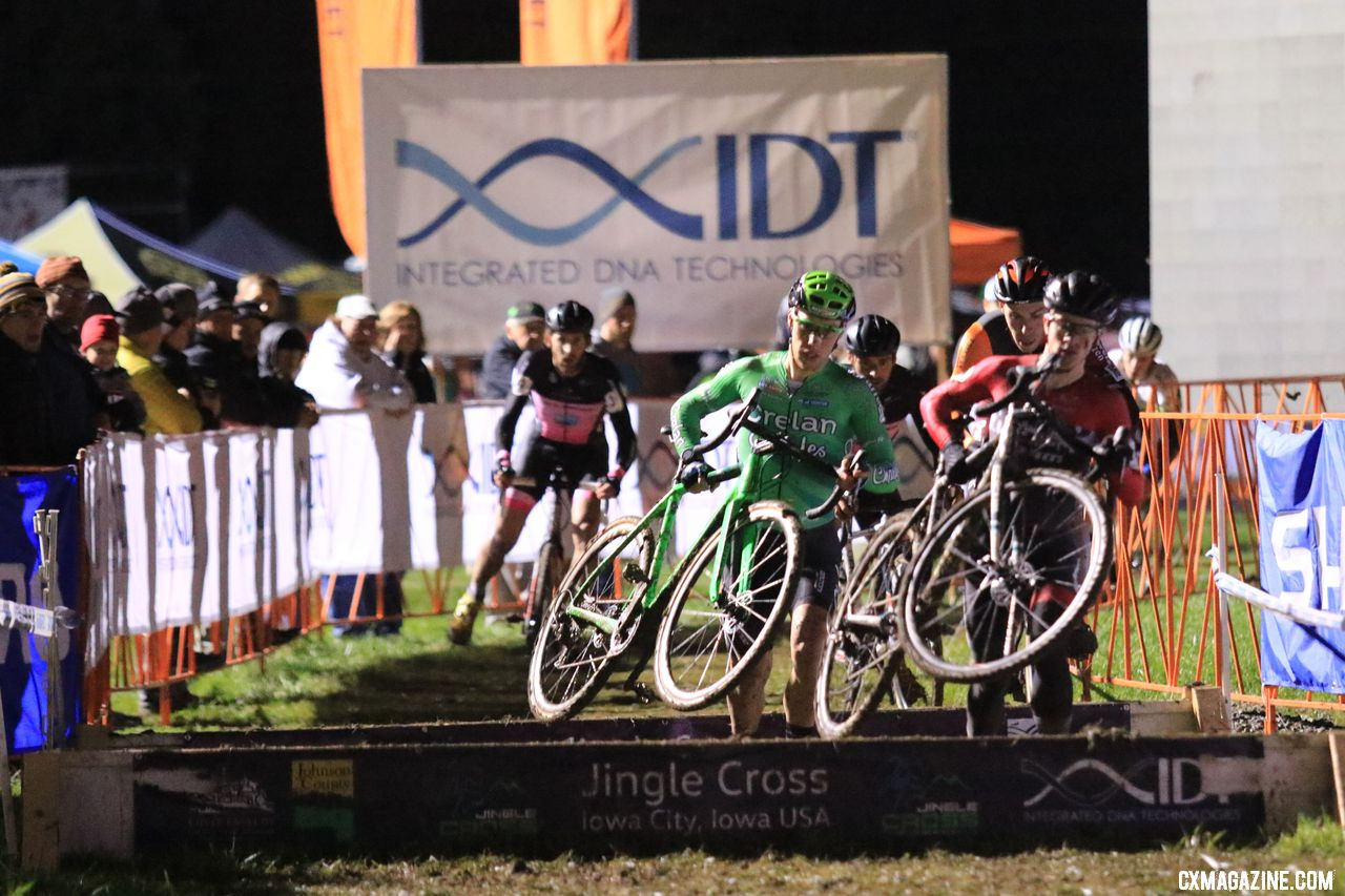 The men on lap 1. 2018 Jingle Cross Day 1 Men. © D. Mable/ Cyclocross Magazine