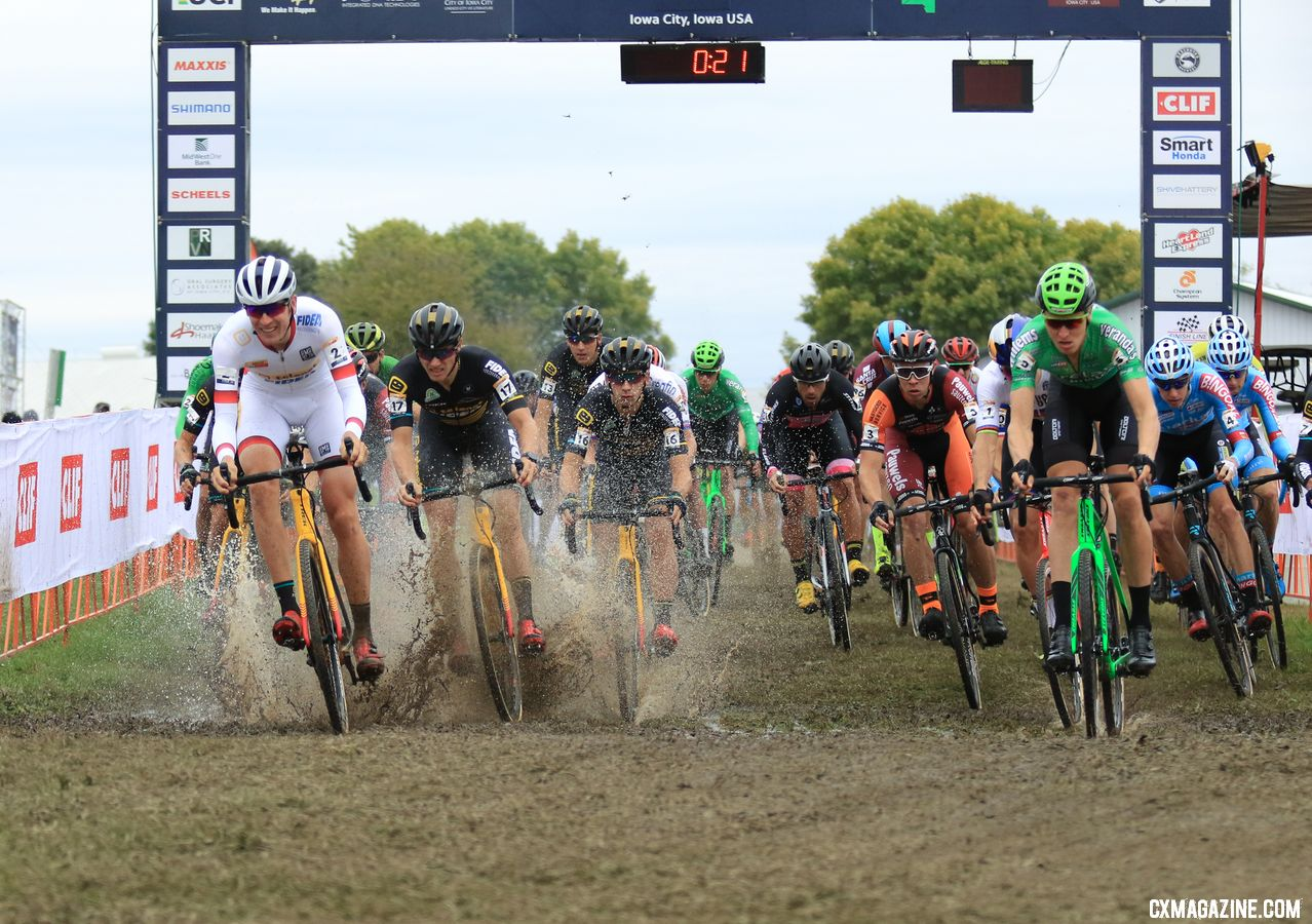 The men make a splash on their way to tackling Mt. Krumpit and putting on a show. 2018 Jingle Cross. © D. Mable / Cyclocross Magazine
