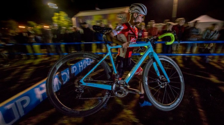 Lance Haidet carried his new Donnelly cyclocross bike over the tall barriers. 2018 RenoCross men's race. © A. Yee / Cyclocross Magazine