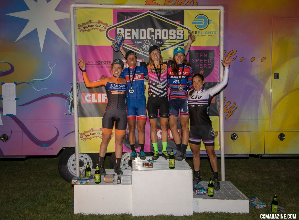 From L to R: Honsinger, Nash, Rochette, Gomez Villafane, and Anthony. 2018 RenoCross women's race. © A. Yee / Cyclocross Magazine