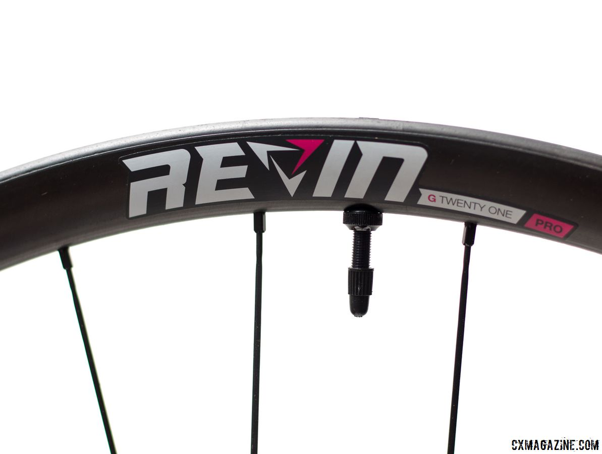 Revin ships the G21 Pro wheels with pink decals, but provides a sheet with five additional colors. Revin Cycling G21 Pro Carbon Tubeless Clinchers. © Cyclocross Magazine