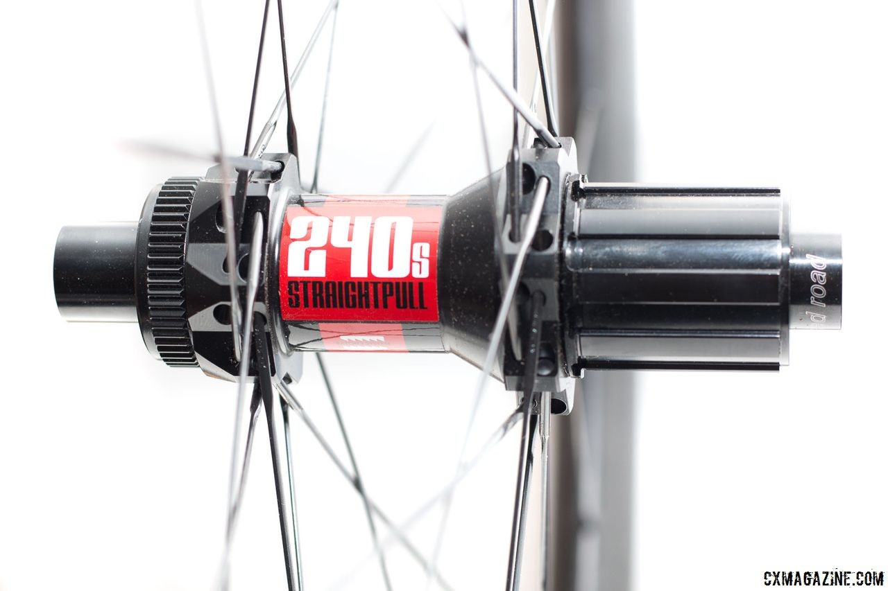 The DT Swiss 240s comes with an 11-speed Shimano/SRAM freehub. Spokes are straight pull Sapim CX Ray. Revin Cycling G21 Pro Carbon Tubeless Clinchers. © Cyclocross Magazine