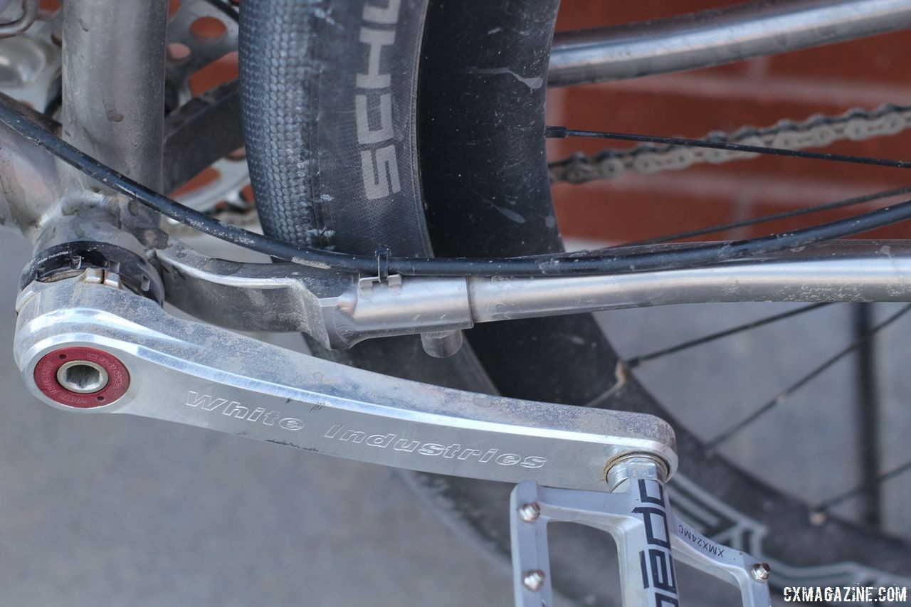 A telescoping chainstay allows the length to be adjusted or for the rear to be removed for transport. James Bleakley's Black Sheep Bikes Titanium Gravsplosion Gravel Bike. © Z. Schuster / Cyclocross Magazine