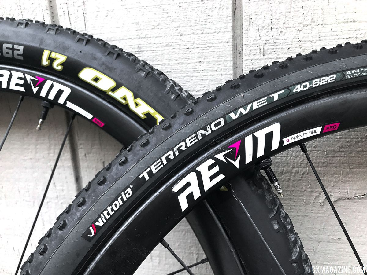 "The two tires we initally mounted were a 29 x 2.1"" WTB Nano and 700c x 40mm Vittoria Terreno Wet. Revin Cycling G21 Pro Carbon Tubeless Clinchers. © Cyclocross Magazine"