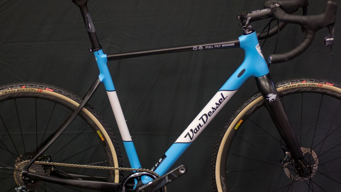 The top-shelf Van Dessel carbon Full Tilt Boogie gets a pretty baby blue for 2019. The model has big tire clearance and can double as a gravel machine, while tackling World Cups under the Van Dessel sponsored women including Caroline Mani, Sunny Gilbert and Cassie Maximenko. 2018 Interbike. © Cyclocross Magazine