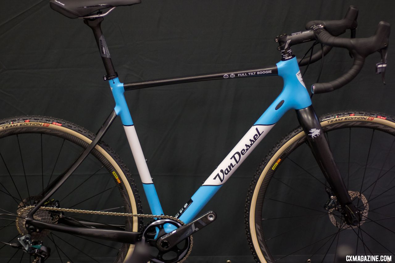 The top-shelf Van Dessel carbon Full Tilt Boogie gets a pretty baby blue for 2019. This versatile model is what carries Van Dessel-sponsored women including Caroline Mani, Sunny Gilbert and Cassie Maximenko. 2018 Interbike. © Cyclocross Magazine