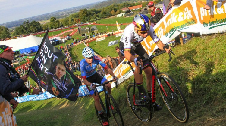 Wout van Aert and Michael Vanthourenhout raced for second. 2018 Brico Cross Ronse / Hotondcross. © B. Hazen / Cyclocross Magazine