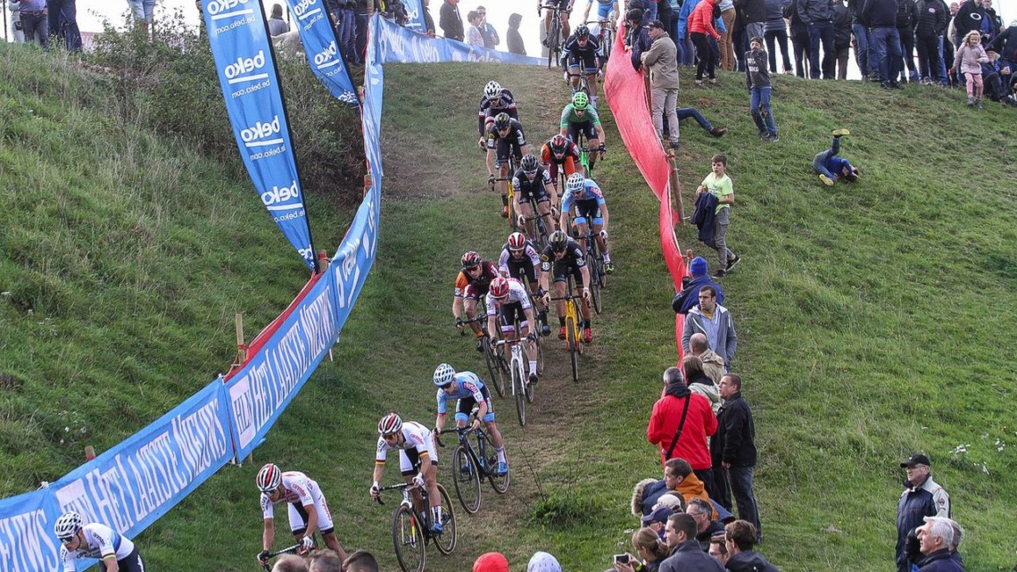 The course in Ronse featured several downs (and ups). 2018 Brico Cross Ronse / Hotondcross. © B. Hazen / Cyclocross Magazine