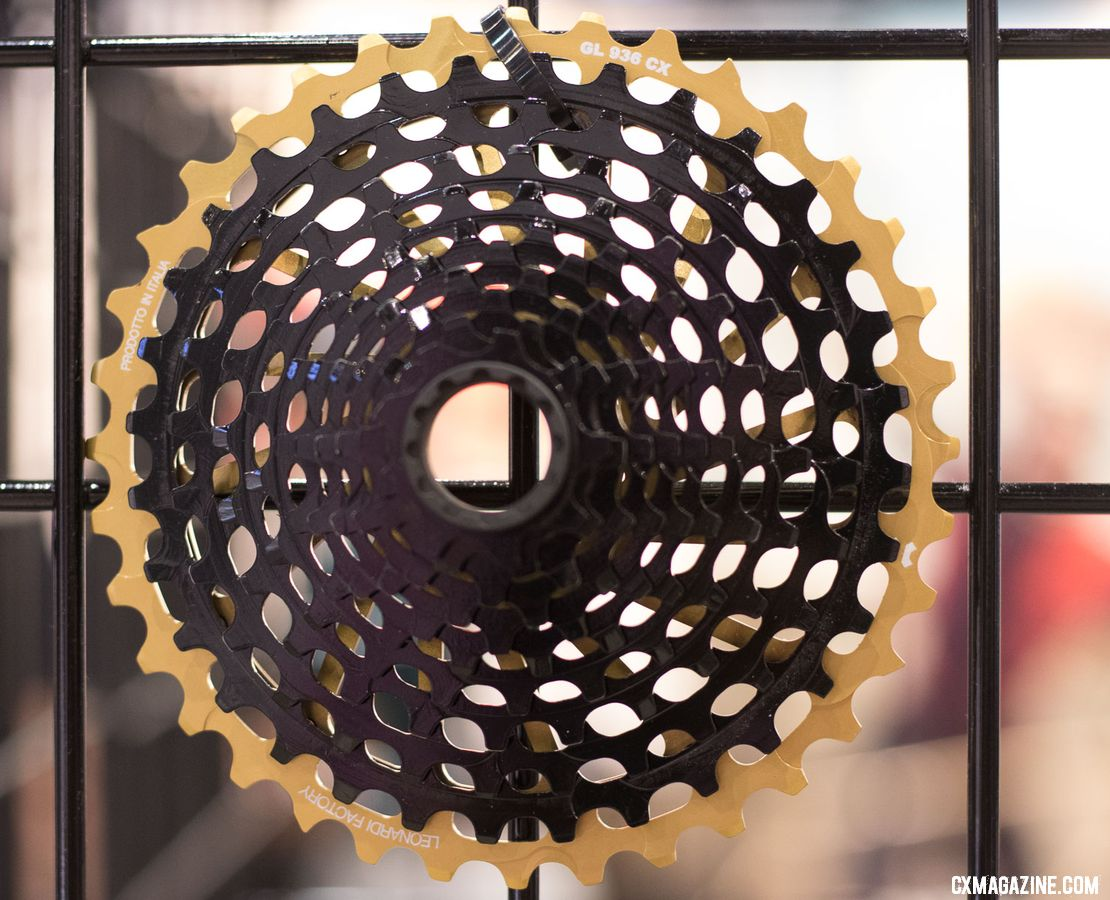 The Italian Leonardi Factory created a 9-36 XD cassette that offers 95% of the range of a 10-42 cassette but with more gear inches and medium cage rear derailleur compatibility. 2018 Interbike new products. © Cyclocross Magazine