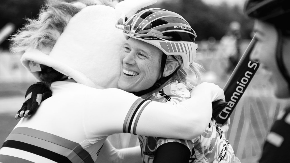 Unicorn hugs for Katie Compton. 2018 Jingle Cross World Cup. © D. Mable / Cyclocross Magazine