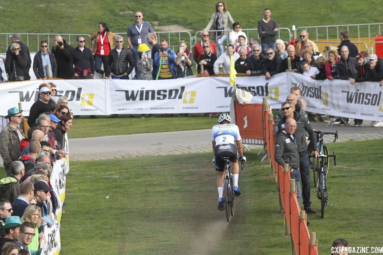 Mathieu van der Poel saw a lot of open space in front of him. 2018 Superprestige Niels Albert CX, Boom. © B. Hazen / Cyclocross Magazine