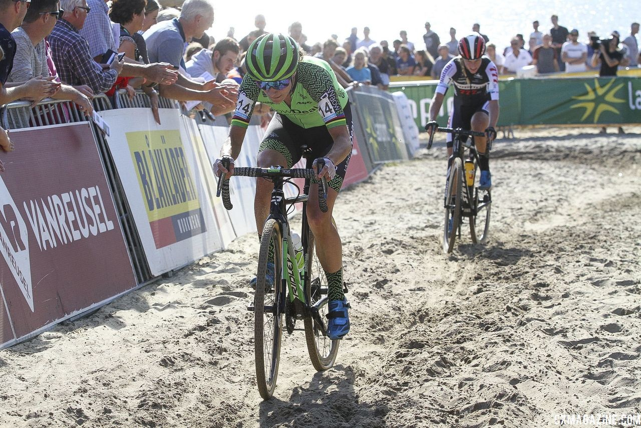 Marianne Vos leads Annemarie Worst through the sand. 2018 Superprestige Gieten. © B. Hazen / Cyclocross Magazine