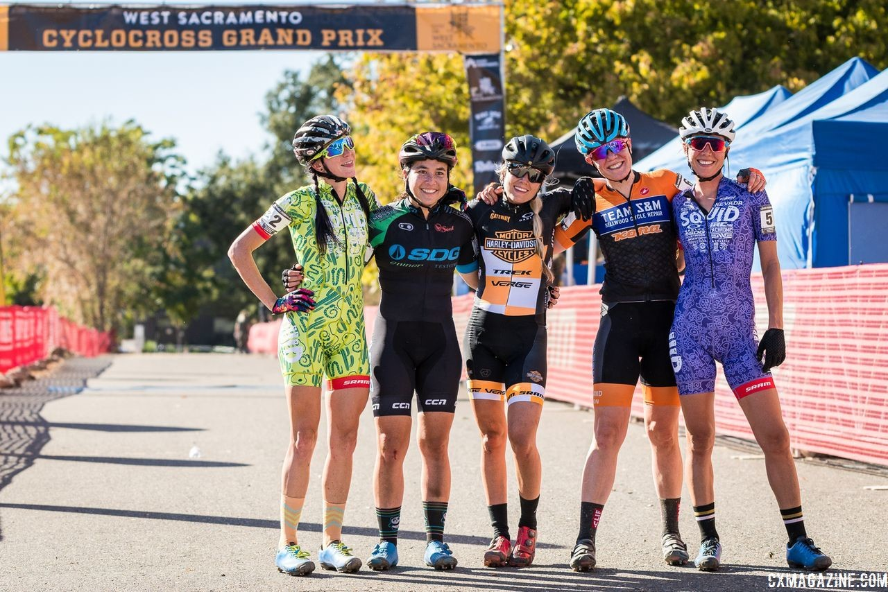 Some of the Elite Women hanging out. 2018 West Sacramento CX Grand Prix. © J. Vander Stucken / Cyclocross Magazine