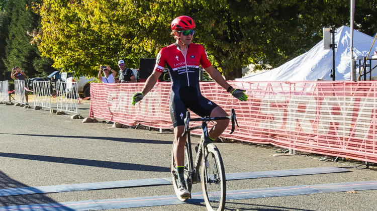 Cody Kaiser celebrates his win. 2018 West Sacramento Cyclocross Grand Prix Day 2. © L. Lamoureux