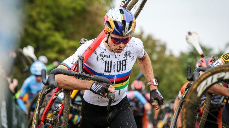 Wout van Aert raced under the letters WVA while his team in Europe looked for a team for him. 2018 Jingle Cross World Cup. © J. Corcoran / Cyclocross Magazine