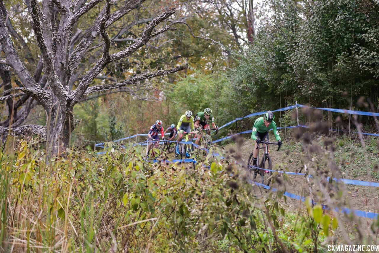 Gage Hecht leads the way early on. 2018 Cincinnati Cyclocross Day 2. © B. Buckley / Cyclocross Magazine