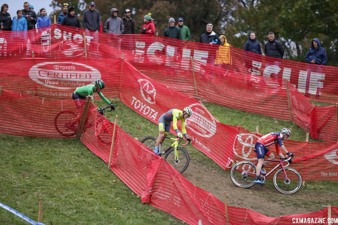 Hyde, Hecht and Werner got a gap on the field midway through the race. 2018 Cincinnati Cyclocross Day 2. © B. Buckley / Cyclocross Magazine
