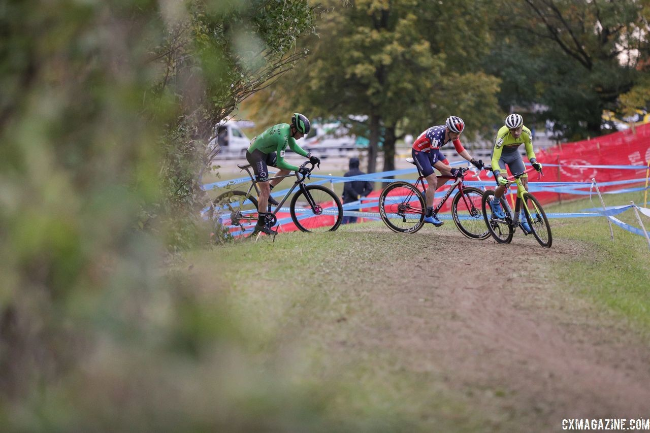 Werner, Hyde and Hecht take a corner off the front. 2018 Cincinnati Cyclocross Day 2. © B. Buckley / Cyclocross Magazine