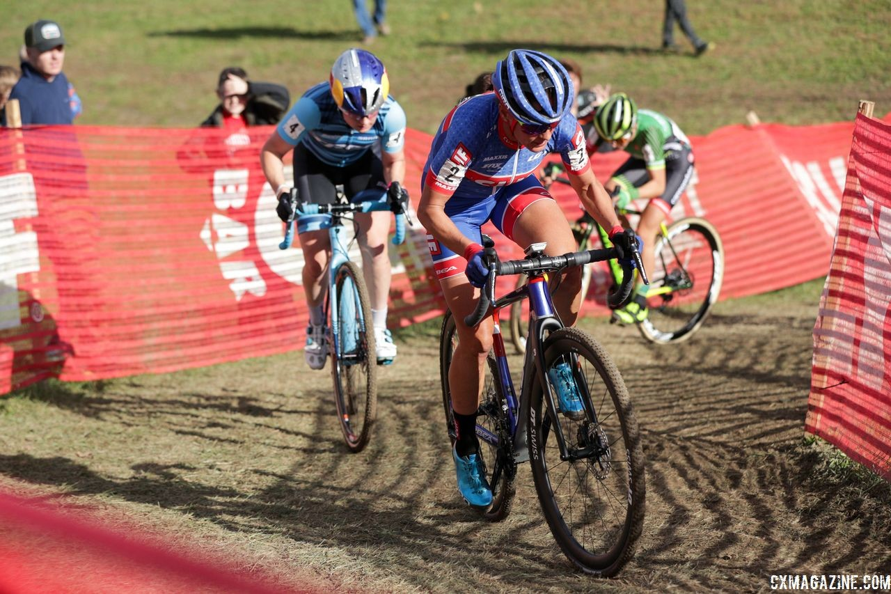 Katerina Nash leads Ellen Noble and Kaitie Keough. 2018 Cincinnati Cyclocross Day 2. © B. Buckley / Cyclocross Magazine
