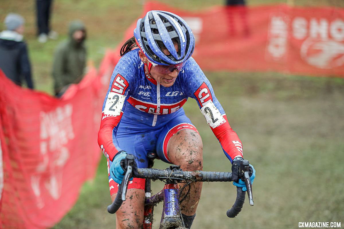 Nash came back to cyclocross after a brief break to finish second behind Noble. 2018 Cincinnati UCI Cyclocross Day 1. Elite Women. © Bruce Buckley