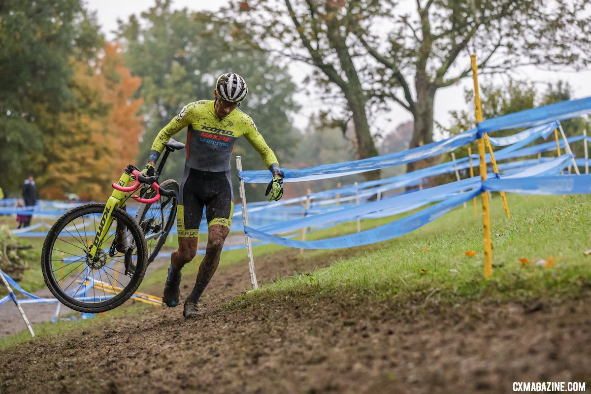 Kerry Werner carries his Major Jake to third. 2018 Cincinnati UCI Cyclocross Day 1. Elite Women. © Bruce Buckley