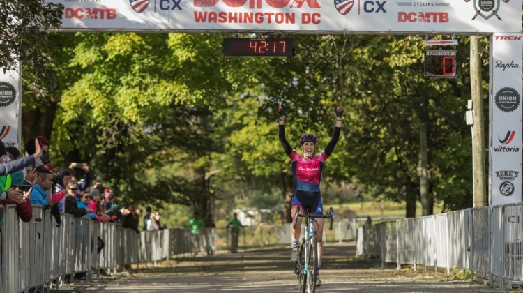 Sunny Gilbert celebrates her second-straight DCCX win. 2018 DCCX Day 2. © B. Buckley
