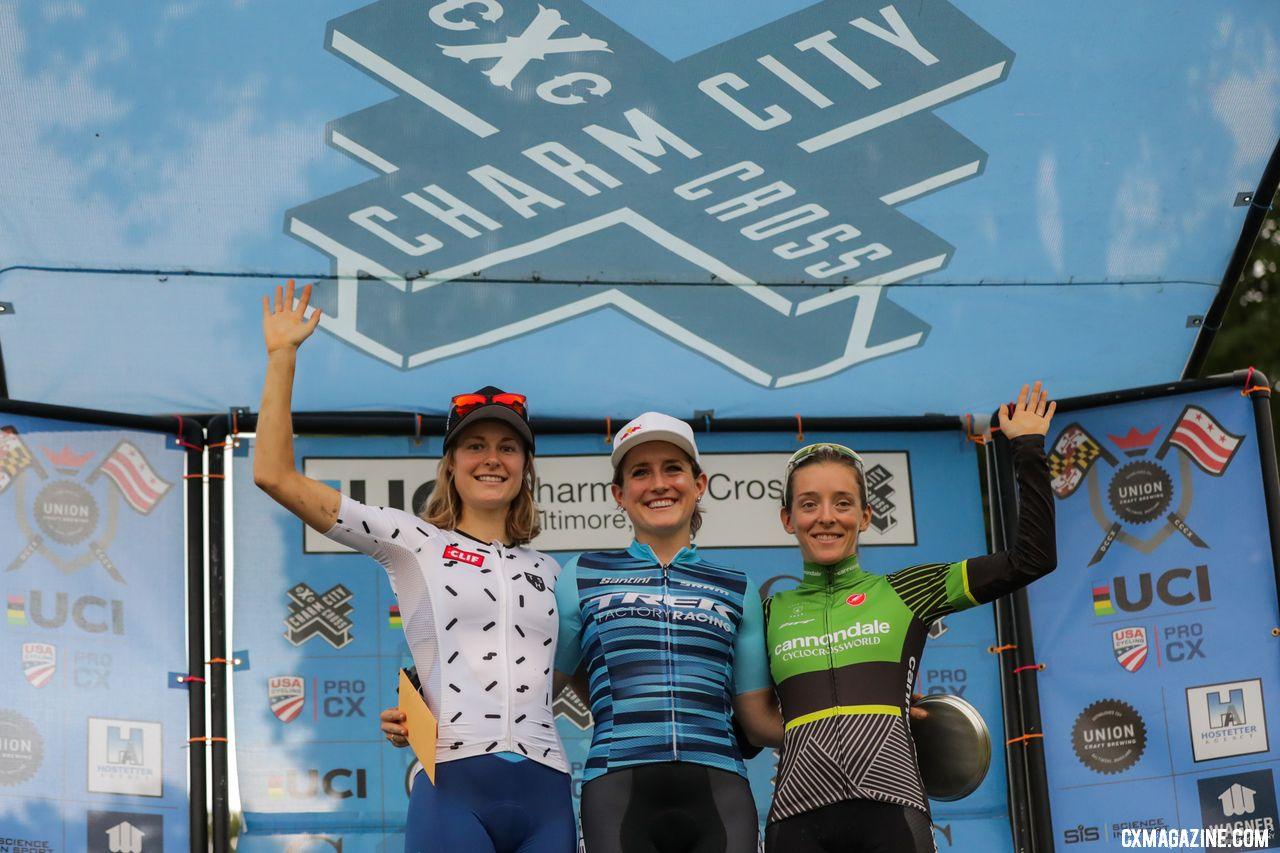 L to R: Rochette, Noble, Keough. 2018 Charm City Cyclocross Day 1. © Bruce Buckley