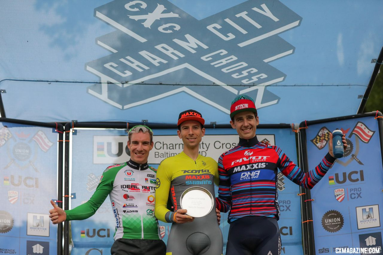 L to R: Boulo, Werner, Driscoll. 2018 Charm City Cyclocross Day 1. © Bruce Buckley