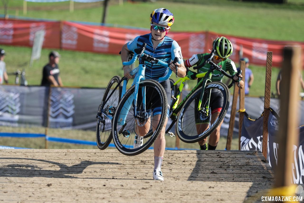 Kaitie Keough hung with Ellen Noble early in the race before Noble got a winning gap. 2018 Charm City Cross Day 2. © B. Buckley
