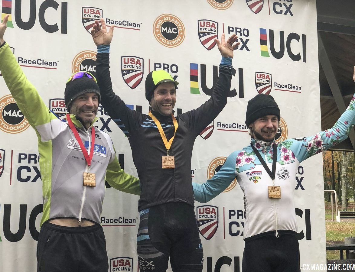 Men's podium: Justin Lindine, Kevin Bradford-Parish and Scott Smith. photo: Matt Matusky