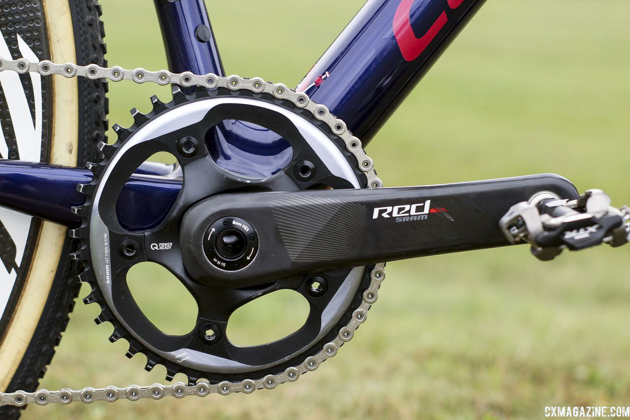 Hyde uses a SRAM Red crankset with built-in Quarq power meter. His chain ring on the 1x setup is a 42t. Stephen Hyde's 2018/19 Cannondale SuperX Cyclocross Bikes. © Z. Schuster / Cyclocross Magazine