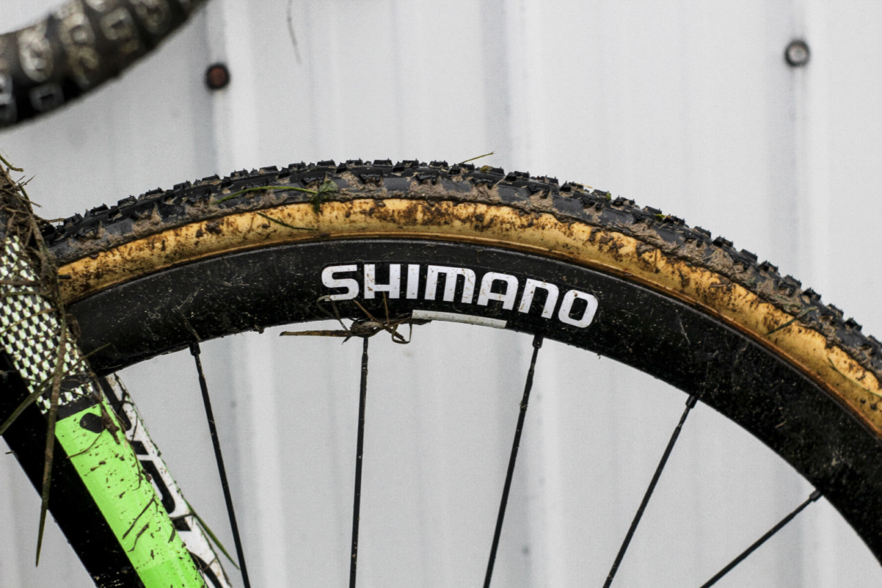 Shimano provided most of the components, including the bike's carbon tubulars. Marianne Vos' Ridley X-Night SL Disc, 2018 Jingle Cross World Cup. © Z. Schuster / Cyclocross Magazine