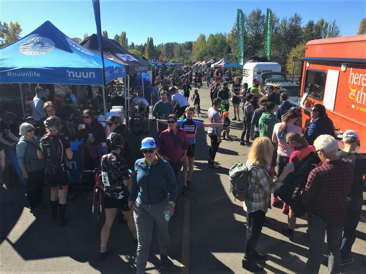 The team tent area had a bazaar-like feel. 2018 MFG Cyclocross #4, Magnuson Park. © Robert Milligan