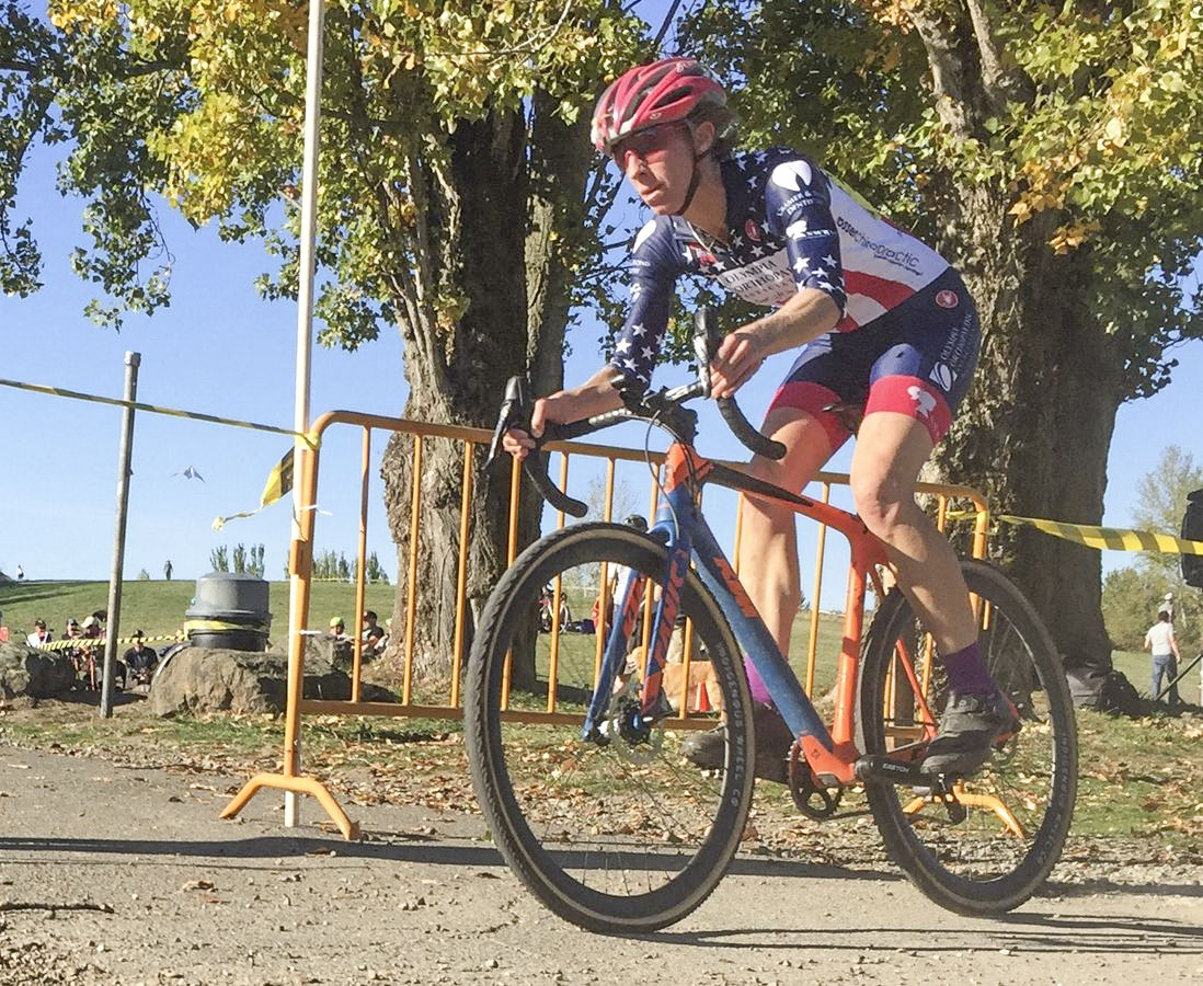 Monica Lloyd raced in her national champion's kit and finished second. 2018 MFG Cyclocross #4, Magnuson Park. © Robert Milligan