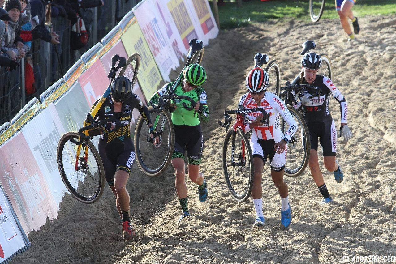 The early lead group of Ellen Van Loy, Ceylin del Carmen Alvarado, Annemarie Worst and Marianne Vos. 2018 Superprestige Ruddervoorde. © B. Hazen / Cyclocross Magazine