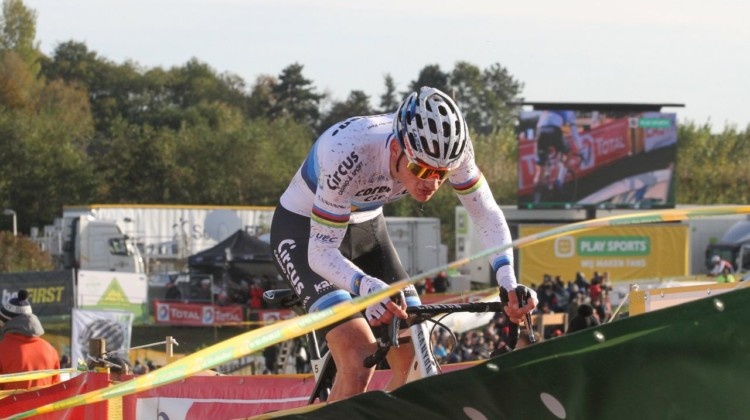 Mathieu van der Poel solos to another win. 2018 Superprestige Ruddervoorde. © B. Hazen / Cyclocross Magazine