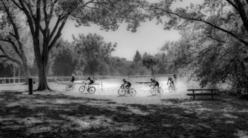 Riders wind their way through the course on the sunny afternoon. 2018 Sacramento Cyclocross #2, Miller Park. © J. Vander Stucken / Cyclocross Magazine