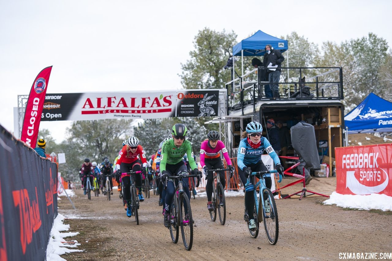 Emma Swartz and Katie Clouse lead the holeshot. 2018 US Open of Cyclocross, Day 2. © Col Elmore
